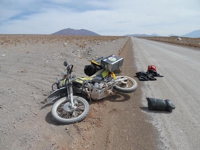 El Viento en moto caida
