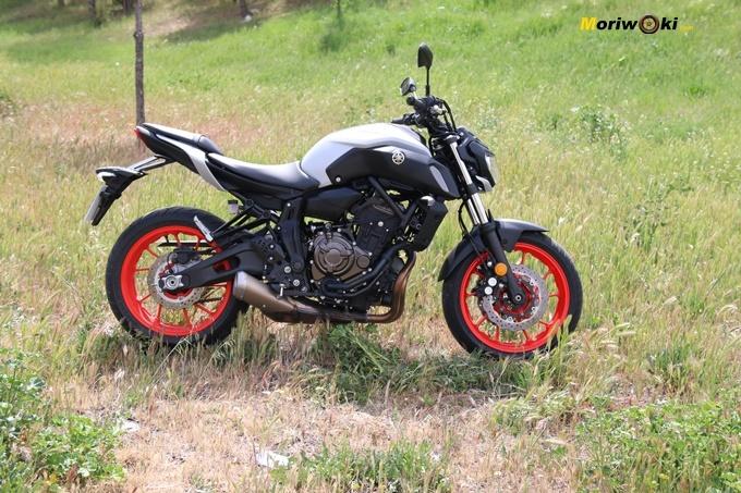 Perfil izquierdo de la Yamaha MT07