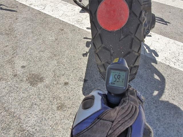 Temperatura máxima alcanzada por el neumático mixto trail/asfalto de Continental en nuestra prueba a su paso por la autovía.
