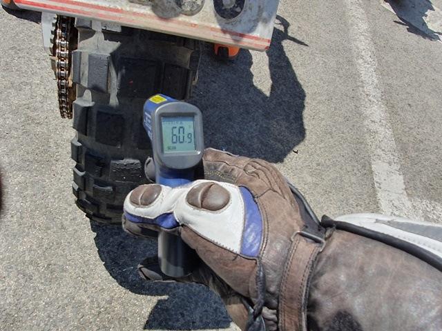 Temperatura máxima alcanzada por el neumático trail de Continental en nuestra prueba a su paso por la autovía.