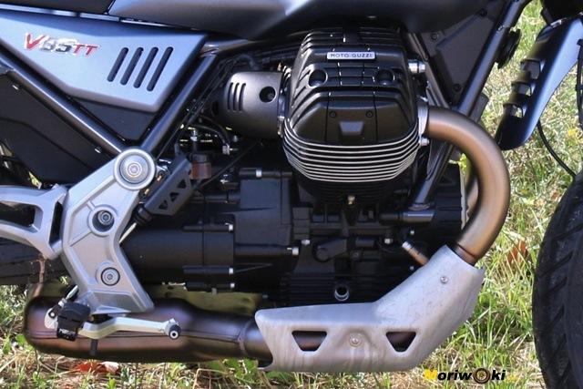 Éste es el V2 transversal, de 4 válvulas y refrigerado por aire que impulsa la Guzzi V85 TT.