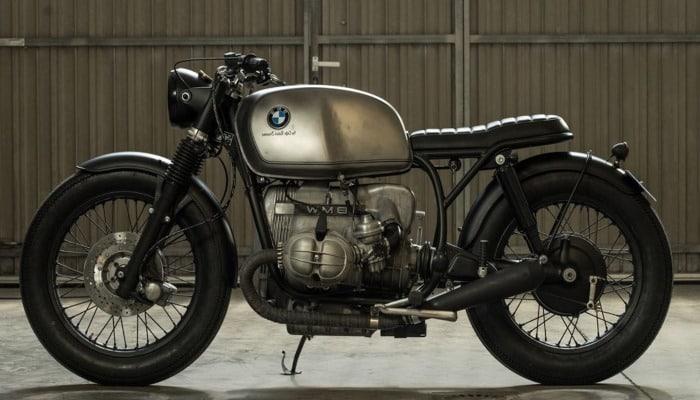 moto clasica gris bmw